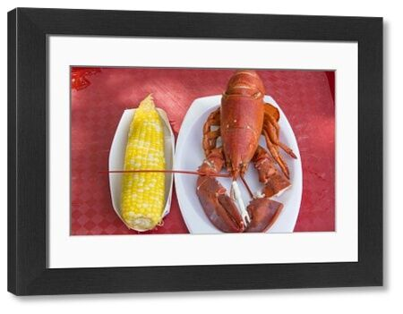 Bar Harbor, Maine, traditional lobster dinner with corn specialty of Maine