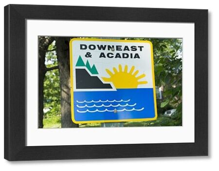 Northern Maine, road down east and Acadia near Bar Harbor route of Route 1 and Route 9 highway along coast