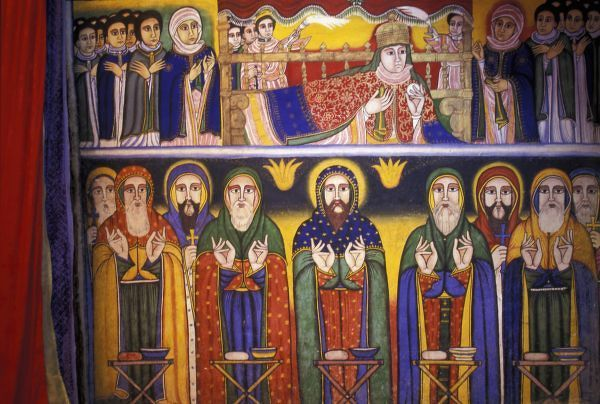 Africa, Ethiopia. Artwork depicting apostles and saints in Ethiopian Orthodox Church