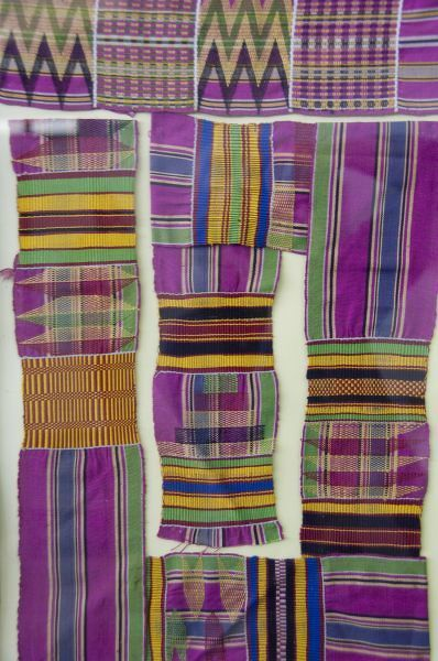 Africa, Ghana, Accra. National Museum, regarded as one of the finest museums in sub-Saharan Africa. Colorful traditional West African textiles