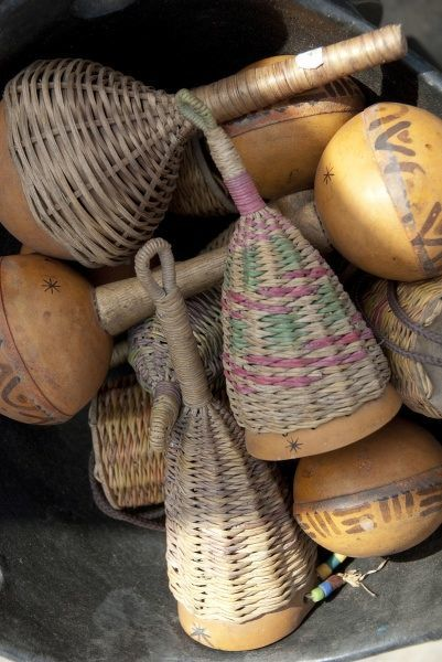 Africa, Ghana, port city of Tema. Woven straw rattles