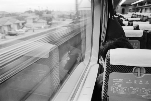 Asia, Japan. Aboard the Shinkansen Bullet Train