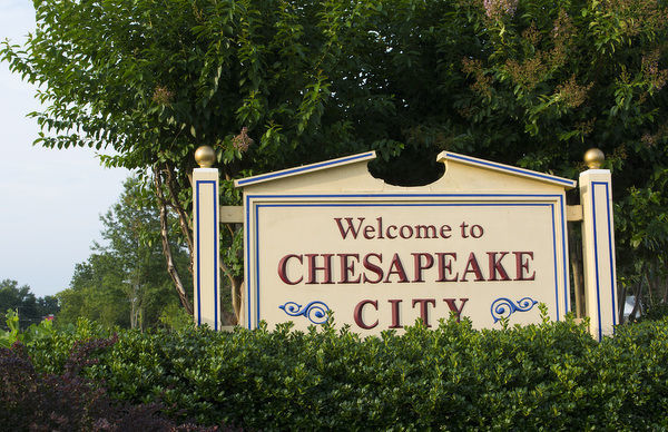 Chesapeake City, Maryland, sign for the town at the river shore