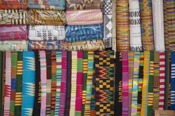 Colorful West African fabric, Accra Textile and Handicraft Market, Accra, Ghana