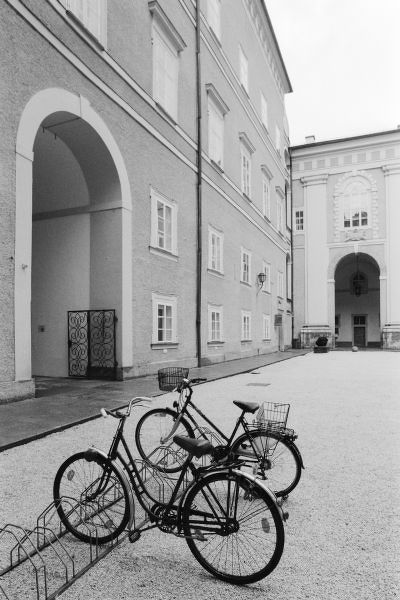 Europe, Austria, Salzburg. Bicycles in the Domplatz