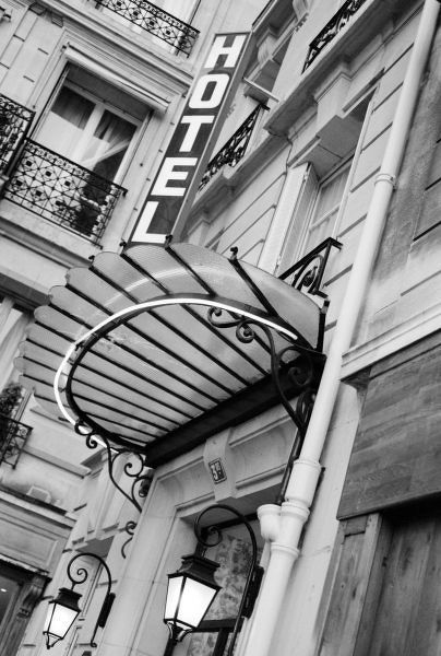 Europe, France, Paris. Detail of Left Bank hotel
