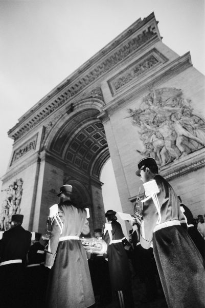 Europe, France, Paris. Military ceremony at the Arc de Triomphe