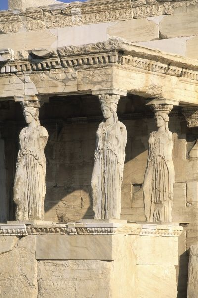 Europe, Greece. Three women close up statues in Parthenon in Athens Greece