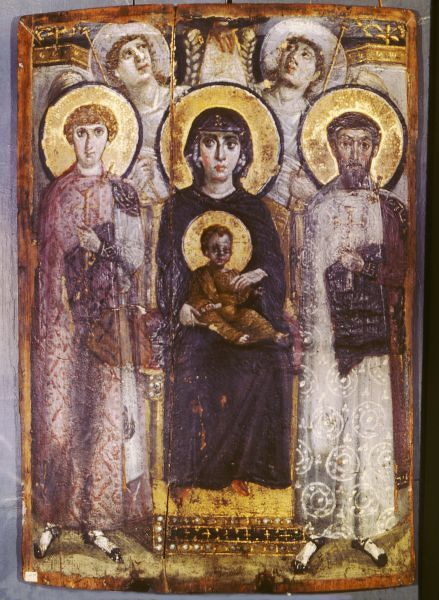 Icon of Mary and saints Theodoros and Georgios with angels. 6th cent. St Catherine's Monastery, Sinai. EGYPT. NOTE: This image avail. up to 100MB. Call for details