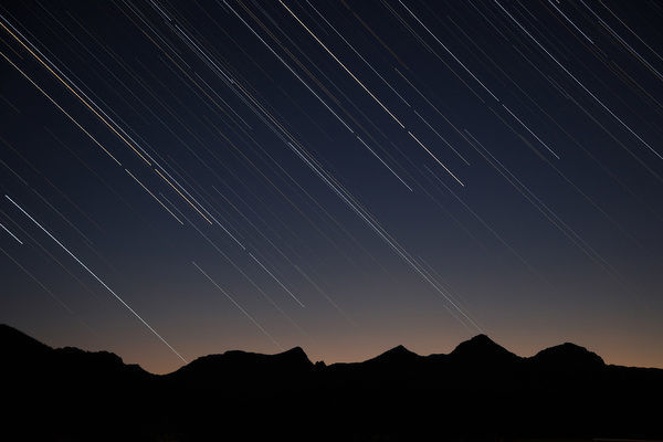 Idaho, Sawtooth National Recreation Area, Star trails over the Sawtooth Range
