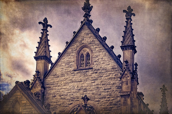 USA, Indianapolis, Indiana. The Gothic Chapel at Crown Hill Cemetery (Large format sizes available)