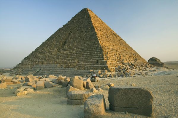 The Pyramids of Giza, which are alomost 5000 years old. On the Western shore of the Nile and west of Cairo, Egypt