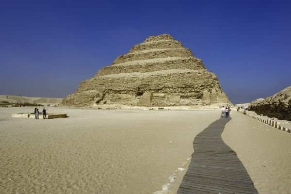 Step pyramid at Saqqara, one of the earliest Egyptian pyramids, built during the Third Dynasty (27th century BC). Imhotep was the architect for Egypt's first step pyramid, (Pyramid of Djoser)