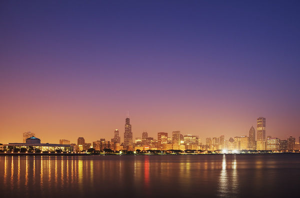 USA, Illinois, Chicago. Sunset skyline and Lake Michigan. Credit as: Dennis Flaherty / Jaynes Gallery / DanitaDelimont.com