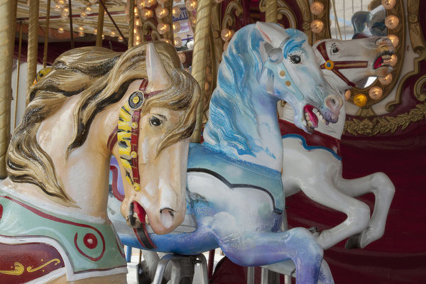 Merry-go-round horses at Indiana State Fair, Indianapolis, Indiana, USA. Credit as: Wendy Kaveney / Jaynes Gallery / DanitaDelimont.com