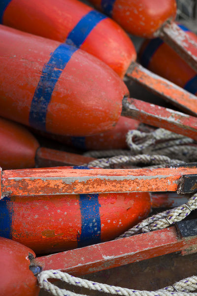 USA, Massachusetts, Cape Ann, Rockport, lobster buoys