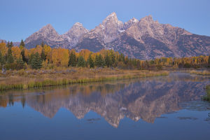 67545-09414 Sunrise at Schwabacher Landing in fall, Grand Teton National Park, WY