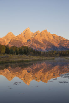 67545-09420 Sunrise at Schwabacher Landing in fall, Grand Teton National Park, WY