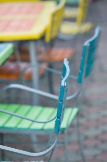 ABC Islands, ARUBA, Palm Beach: Colorful Cafe Tables & Chairs