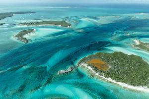 caribbean/exuma/aerial photo looking clear tropical water islands