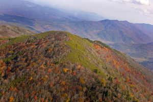 Aerial view of Great Smoky Mountains National Park from helicopter in autumn
