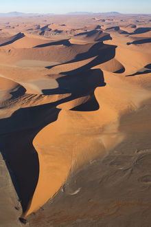 Aerial view over Sossusvlei sand dunes in Namib-Naukluft National Park, Namibia