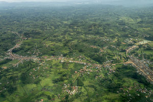Aerial view of Uganda between Entebbe and Bwindi. Uganda