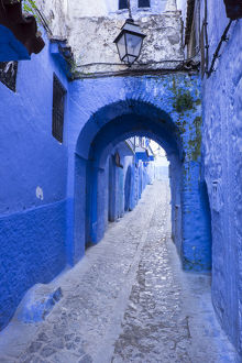 Africa, Morocco. A blue alley in the hilltown of Chefchaouen