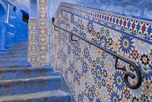 africa/africa morocco chefchaouen decorated tile wall