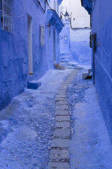 Africa, Morocco, Chefchaouen. A quiet alleyway in blue, the typical paint color of