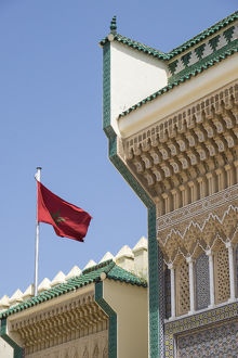 Africa, Morocco, Fes. Details of the Royal Palace gates with zelij tilework and cut