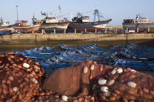 Africa, Morocco. Fish nets, floats, boats, and commercial fishing vessels of the