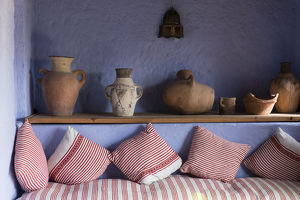 Africa, Morocco, interior of sitting room in hotel Dar Chefchaouen