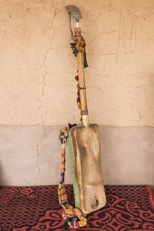 Africa, Morocco, Sahara region. Hajhouj or guembri musical instrument used in Gnawa music