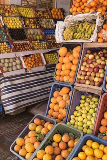 Africa, Morocco, Tinerhir. Fresh fruit for sale in market stall