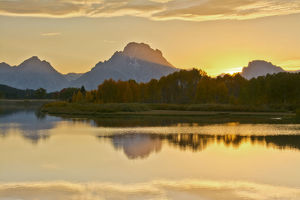 Alpenglow at sunset, Oxbow, Grand teton National Park, Wyoming, USA