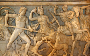 europe/italy/ancient roman hunt sculpture burial box details