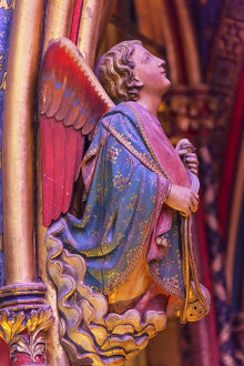 europe/france/angel wood carving cathedral saint chapelle paris