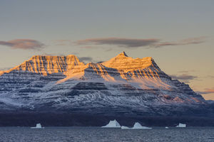 greenland/arctic gasefjord goosefjord greenland alpenglow