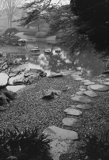 Asia, Japan, Tokyo, Details, Imperial Palace Gardens, Black and white image