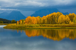 autumn evening, Oxbow, Grand teton National Park, Wyoming, USA