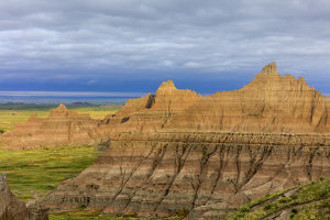 Badland formations from Cedar Pass in Badlands National Park, South Dakota, USA