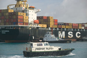 BAHAMAS-Grand Bahama Island-Freeport: Port of Freeport: Container Cargo Ship