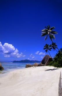 Beautiful perfect scene of the famous rocks and beach at La Digue in the Seychelle
