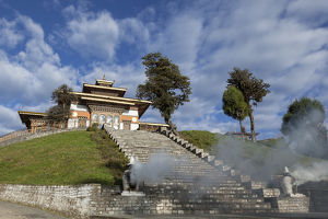 Bhutan, Dochu La, Incense burns at base of stairs to Druk Wangyal Lhakhang Temple