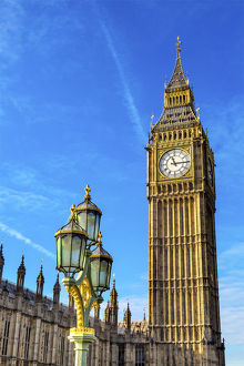 Big Ben Tower Houses of Parliament Lamp Post Westminster Bridge Westminster London England