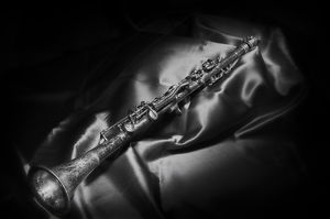 A black and white still life image of a brass clarinet