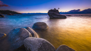 Bonsai Rock at sunset, Lake Tahoe, Nevada USA
