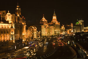 The Bund, Old Part of Shanghai, At Night with Cars etc