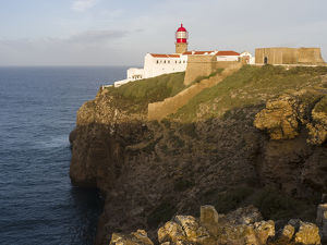 Cabo de Sao Vincente (Cape St. Vincent) with its lighthouse at the rocky coast of